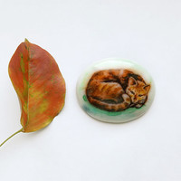 Animal Brooch Red Ginger Cat, cat jewelry, for cat lovers, watercolor hand painting, white and brown, cat curled up