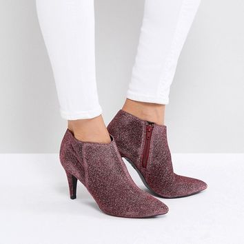 New Look Round Toe Glitter Heeled Boot at asos.com