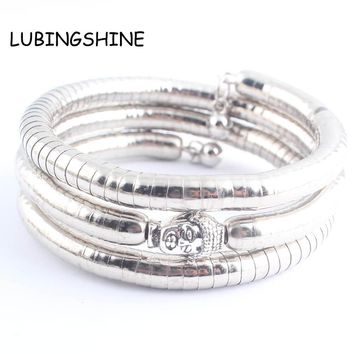 LUBINGSHINE Bohemian Women Jewelry Bracelets pulseira 3 Layer Silver Color Lion Buddha Bracelet Bangle Costume Jewellery