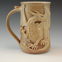Winged Dragon Drinking Mug -Handmade and Salt Kiln Fired