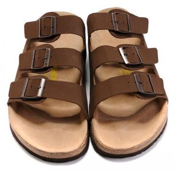 Birkenstock Leather Cork Flats Shoes Women Men Casual Sandals Shoes Soft Footbed Slippers-30