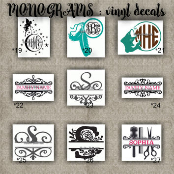 MONOGRAM vinyl decals | name | initial | decal | sticker | car decals | car stickers | laptop sticker - 19-27