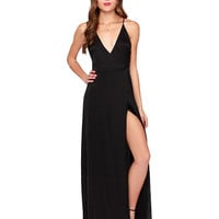 V-neck Strappy Backless Sheath Pleated Maxi Dress with Slit