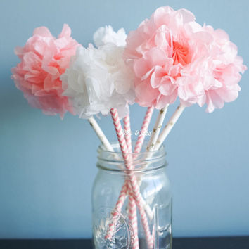 Tissue paper pom pom flower kit paper straw wands birthrday party wedding bridal shower  centerpiece