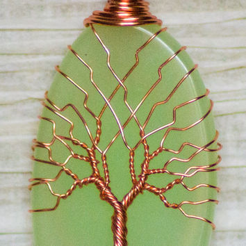 Tree of Life copper wire wrapped natural Green Agate Slice pendant