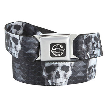 Black & White Geometric Skull Seat Belt Belt