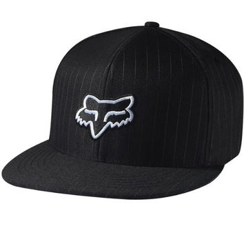 Fox Racing The Steez Fitted Hat Black Pinstripe/White L/XL