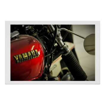 Yamaha Red Golden Motorcycle Motorbike Poster