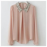 Sequin Collar Long Sleeve blouse/top