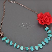 Polymer Clay Red Rose Turquoise Copper Necklace