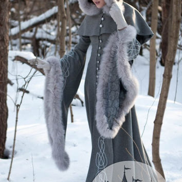 "Wool Grey Fantasy Coat ""Heritrix Of The Winter"" snow princess white queen fur coat"