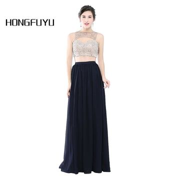 New Arrival 2 Piece Boat Neck A Line Chiffon Long Prom Dresses 2018 Sleeveless Beading Floor Length Prom Dresses  HFY110203