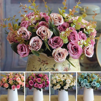 Wedding Bridal European Artificial Rose Leaf Flowers Bouquet Party Decal [7978670983]