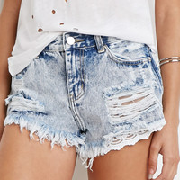 Lace Underlay Denim Cutoffs
