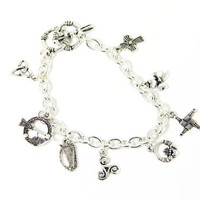 Eight Irish Symbols Charm Bracelet Celtic Jewelry