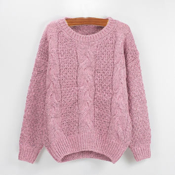 Pink Twisted Knit Casual Sweatshirt
