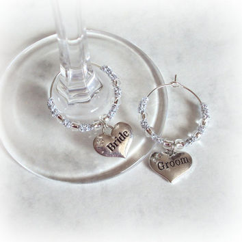 Bride and Groom Wedding Wine Glass Charms , Silver Beaded Metallic Tatting - Venus - Set of Two