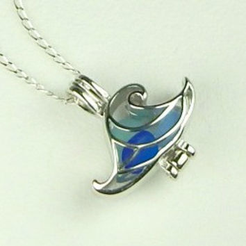 Sterling Silver Wave Locket Genuine Sea Glass Necklace In Blue