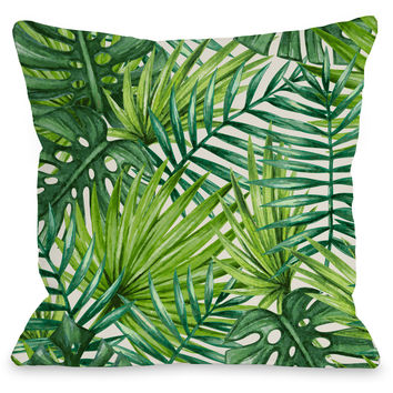 """Palm Leaves"" Indoor Throw Pillow by OneBellaCasa, 16""x16"""