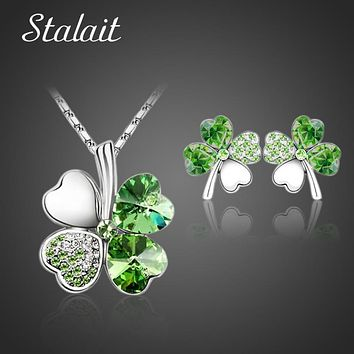 Fashion Wedding Jewelry Sets For Brides Austrian Crystal Rhinestones  Gold Color Lucky Clover Necklace Earrings Jewelry Set
