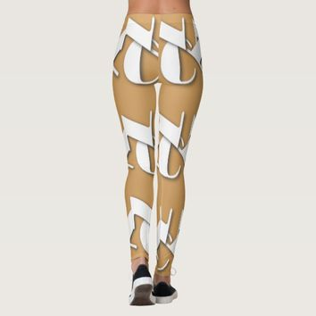 WHITE NYC LOGO TAN LEGGINGS HAVIC ACD