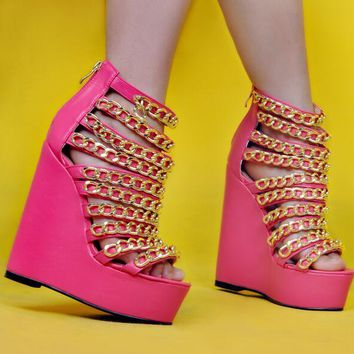 Pink Leather High Platform Sandals Gold Chain Straps Wedge Zipper Back Sandals