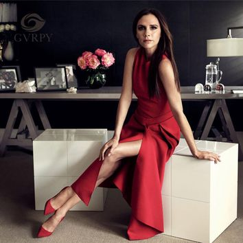 2017 New Runway Victoria Beckham Dress for Women Solid Color Black / Red Sexy Sleeveless Asymmetrical Mid Dresses Party Vestidos