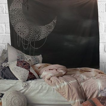 Henna Moon Tapestry Distressed Tapestry Wall Hanging Meditation Yoga Grunge Hippie
