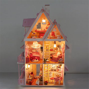 Unique Wood House Toy With Furnitures &  lamp DIY Large Size Assembling DIY Miniature Model Kit Wooden Doll House