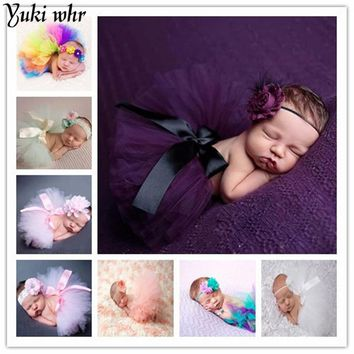 Newborn Baby Photography Props Peacock Handmade Crochet Beanie Beaded Cap Pink Flower Headband Princess Tutu Skirt Photo Props