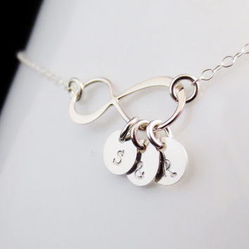 Silver Infinity Initial Necklace, Sterling Tiny Initial Discs Charm Necklace, Mothers Day Gift, Bridesmaid Bridal Party, Anniversary Gift