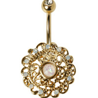 14G Steel Gold Filigree Navel Barbell