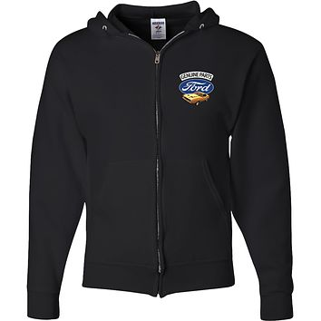 Ford Mustang Full Zip Hoodie Genuine Parts Pocket Print