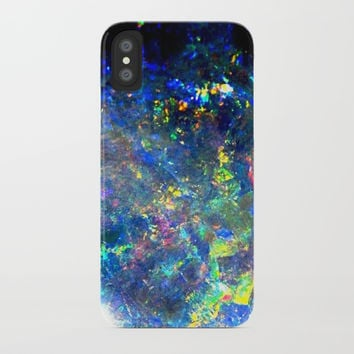 Galaxy space opal iridescent holographic druse crystal quartz agate gemstone geode mineral photo iPhone Case by iGalaxy