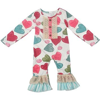 Valentine's Days Newborn Baby Girls Rompers Clothes Love Heart Cute Jumpsuit Rompers Toddler Clothes Baby Boutique Outfit R038