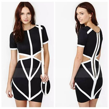 Black And White Short Sleeves Cutout Waist Zipped Mini Dress