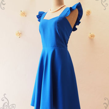 Olivia - Royal Blue Dress Sweet Ruffle Sleeve Dress Royal Blue Party Dress Bridesmaid Dress Summer dress Alice in Wonderland -XS-XL, Custom