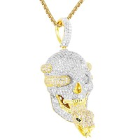 Men's Skull Head Snake Tongue Silver Iced Out Pendant