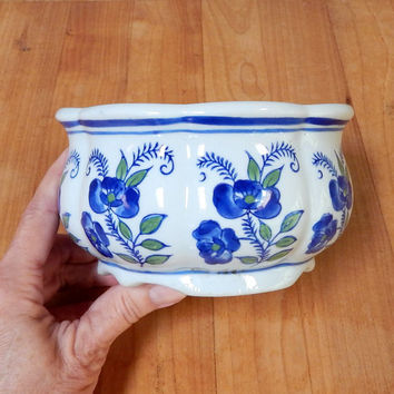 Vintage Blue and White Porcelain Planter Bowl, Footed, Made in China
