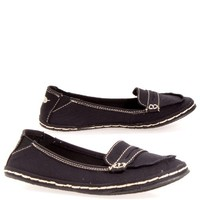 Rocket Dog Wally Washed Canvas Flat Penny Loafer Slip On, Womens