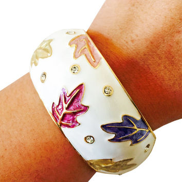 Activity Tracker Bracelet for Garmin VivoFit - The RUMIKO White Leaves and Rhinestone Hinge Bangle Bracelet - FREE U.S. Shipping