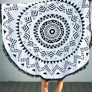 Mandala Beach Towel: White/Black