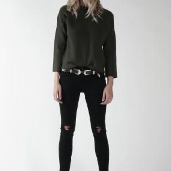 Women's Knot Sisters Maniac Sweater--Olive