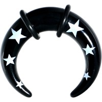 0 Gauge Black Acrylic White Stars Buffalo Taper
