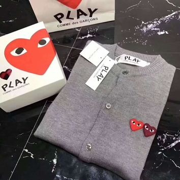 play cdg Fashion Knit Button Round Neck Long Sleeve Embroider Sweater Coat G-ZDL-STPFYF