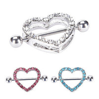 Heart Shaped Nipple Shield Nipple Ring Steel Barbell Piercing Jewelry Beach 3C