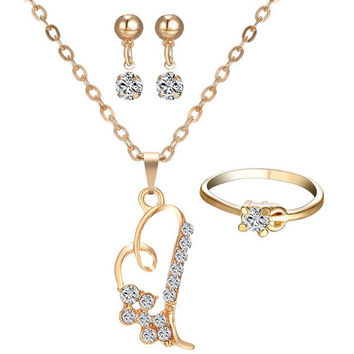 A Suit of  Rhinestone Hollowed Heart Necklace Ring and Earrings