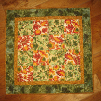 Quilted Table Topper, Tossed Green, Red, and Orange Autumn Leaves