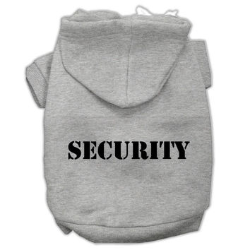 Security Screen Print Pet Hoodies Grey Size w- Black Size text XXXL (20)
