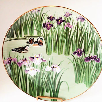 Franklin Mint Flowers and Birds of the Orient, Mandarin Duck and Iris 1979 Hand Painted Decorator Plate
